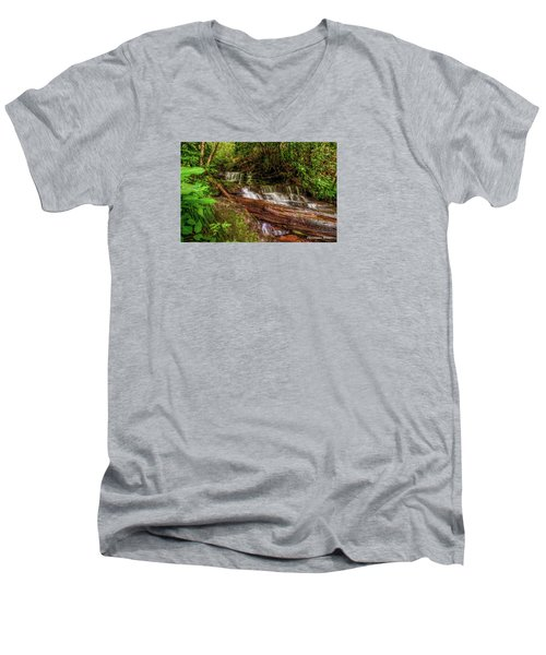 Men's V-Neck T-Shirt featuring the photograph Forest Falls by Christopher Holmes