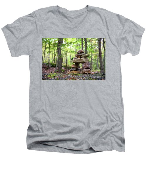 Forest Inukshuk Men's V-Neck T-Shirt