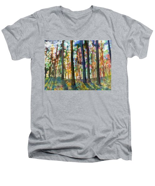 Men's V-Neck T-Shirt featuring the painting Forest Light by Hailey E Herrera