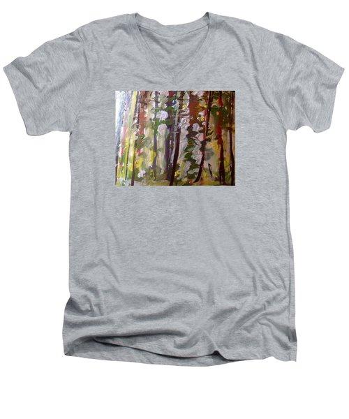 Forest Meeting Men's V-Neck T-Shirt by Judith Desrosiers