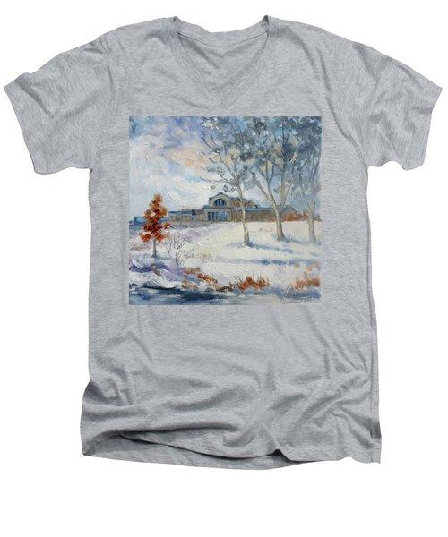 Forest Park Winter Men's V-Neck T-Shirt by Irek Szelag