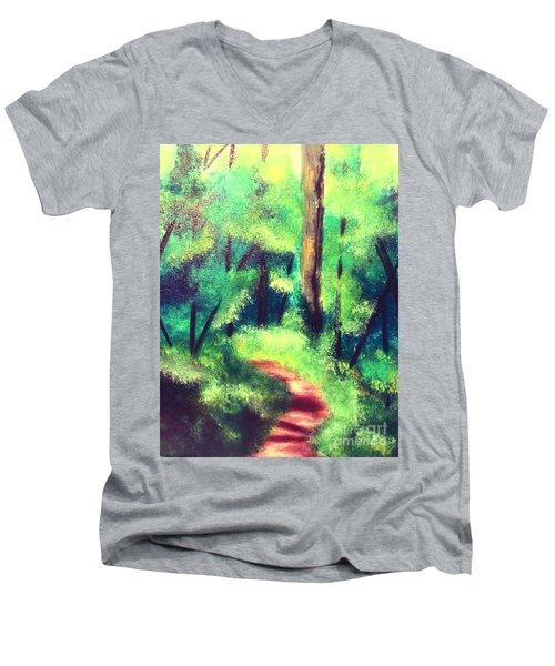 Forest Path Men's V-Neck T-Shirt by Denise Tomasura