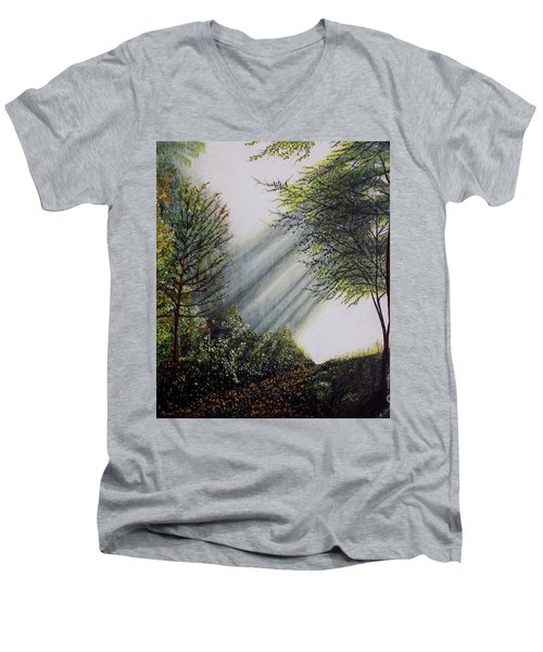 Men's V-Neck T-Shirt featuring the painting Forest Pathway by Judy Kirouac