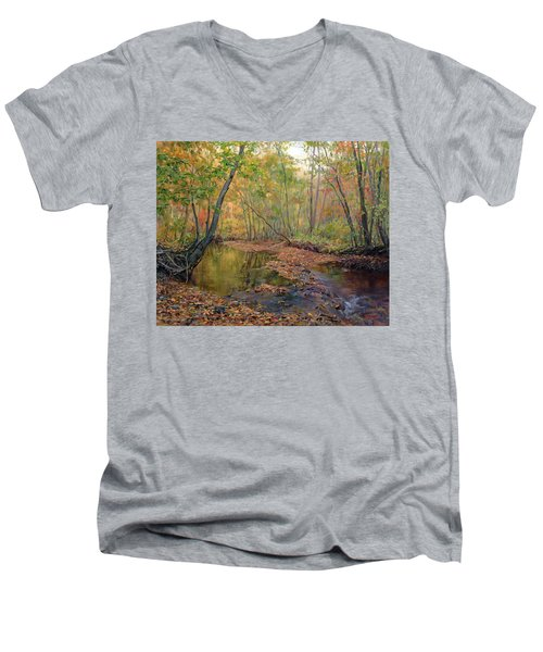 Forest River In Early Fall Men's V-Neck T-Shirt
