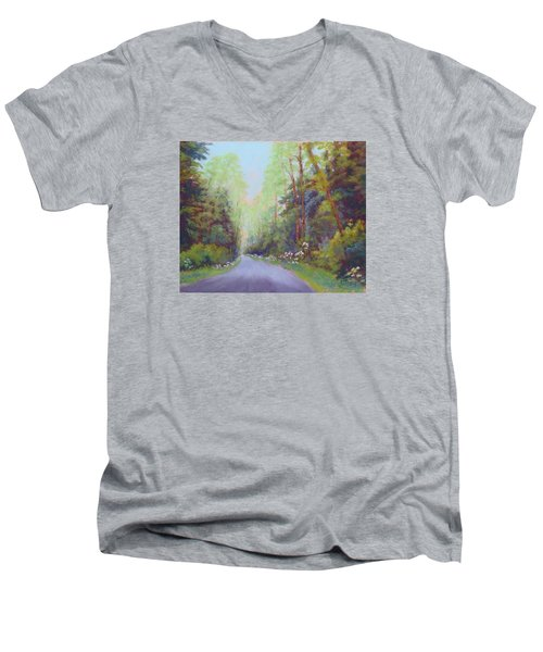 Men's V-Neck T-Shirt featuring the painting Forest Road by Nancy Jolley