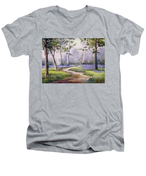 Men's V-Neck T-Shirt featuring the painting Forest  by Samiran Sarkar