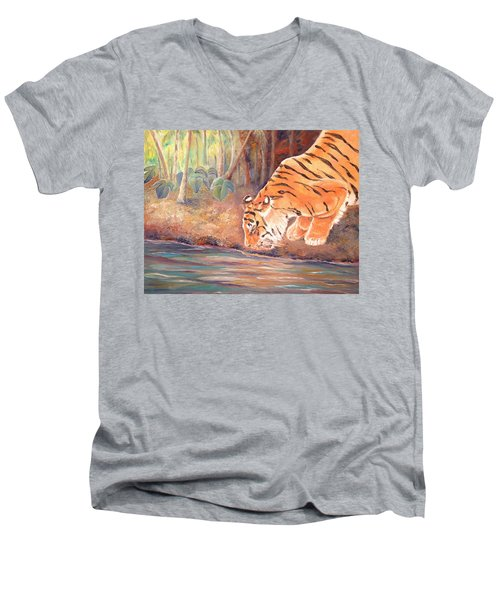 Men's V-Neck T-Shirt featuring the painting Forest Tiger by Elizabeth Lock