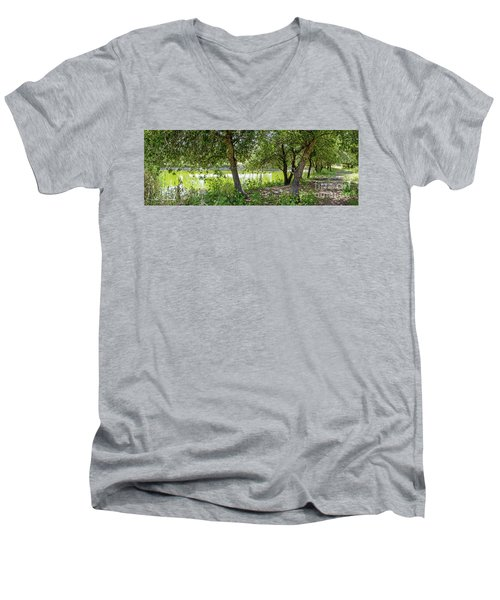 Men's V-Neck T-Shirt featuring the photograph Forest Trail by Arik Baltinester