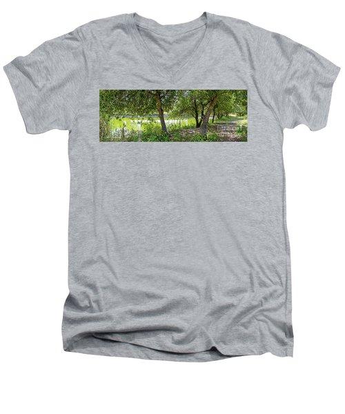 Forest Trail Men's V-Neck T-Shirt by Arik Baltinester