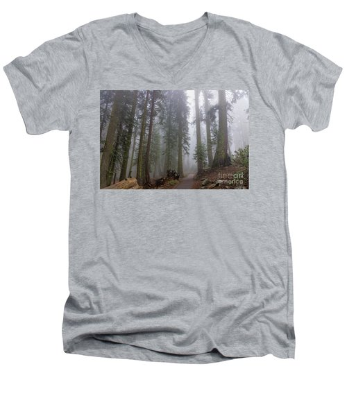 Men's V-Neck T-Shirt featuring the photograph Forest Walking Path by Peggy Hughes