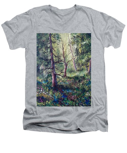 Forest Wildflowers Men's V-Neck T-Shirt by Megan Walsh