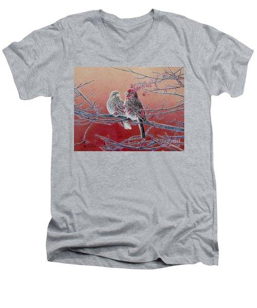 Forever Finch Men's V-Neck T-Shirt by Pamela Clements