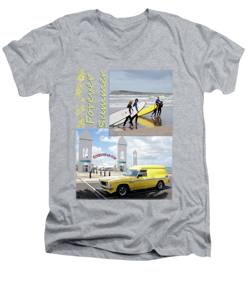 Men's V-Neck T-Shirt featuring the photograph Forever Summer 6 by Linda Lees
