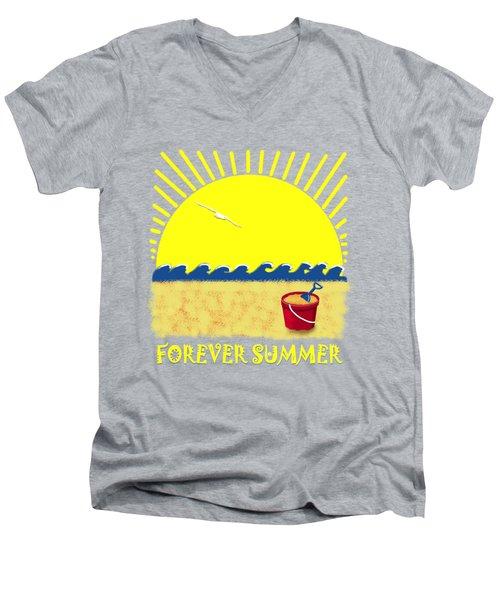 Men's V-Neck T-Shirt featuring the digital art Forever Summer 8 by Linda Lees