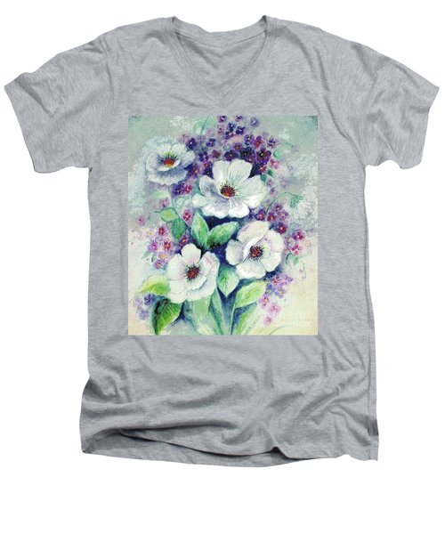 Forget-me-knots And Roses Men's V-Neck T-Shirt