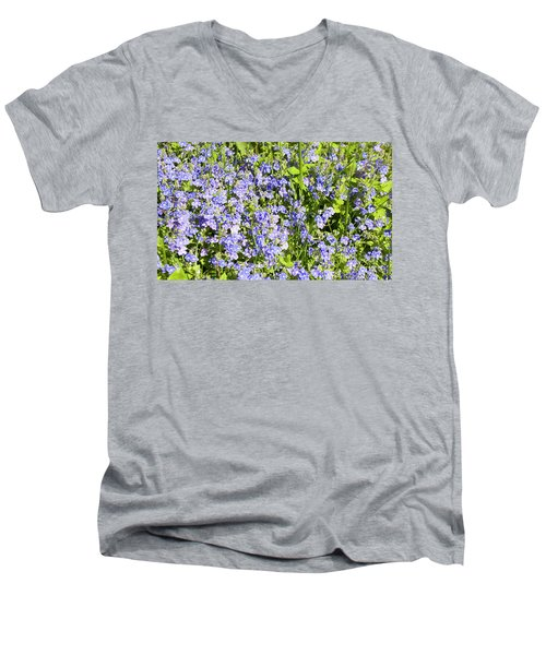 Forget-me-not - Myosotis Men's V-Neck T-Shirt by Irina Afonskaya
