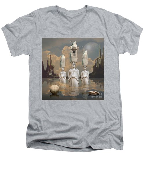 Men's V-Neck T-Shirt featuring the digital art Forgotten Atlantis by Alexa Szlavics
