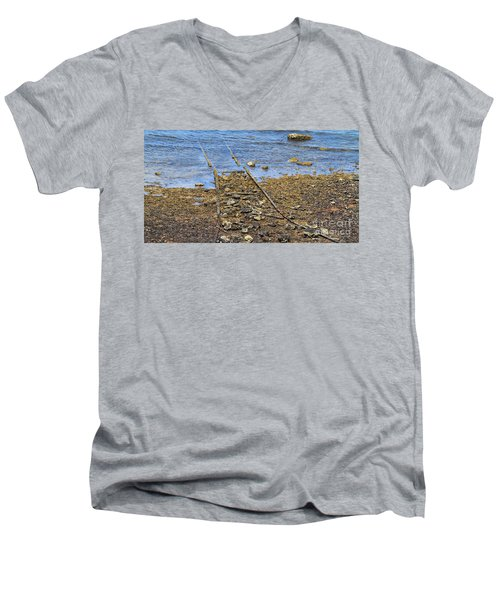 Men's V-Neck T-Shirt featuring the photograph Forgotten Line II by Stephen Mitchell