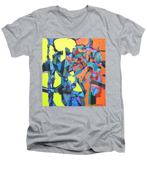 Men's V-Neck T-Shirt featuring the painting Forgotten Memories Of Broken Promises by Bernard Goodman