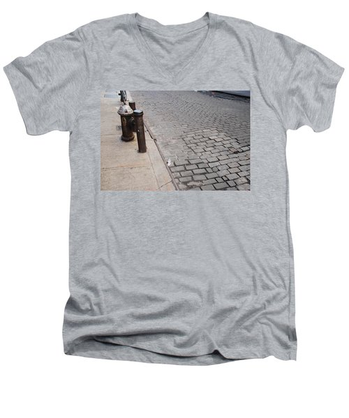 Men's V-Neck T-Shirt featuring the photograph Forgotten N Y by Rob Hans