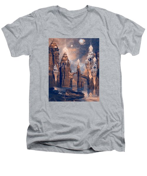 Men's V-Neck T-Shirt featuring the digital art Forgotten Place by Alexa Szlavics