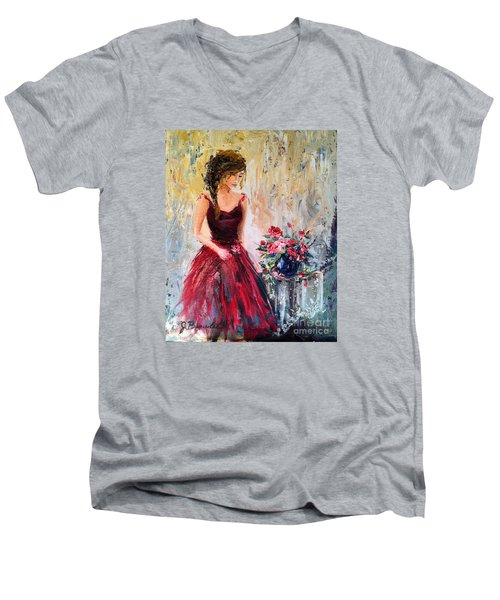 Men's V-Neck T-Shirt featuring the painting Forgotten Rose by Jennifer Beaudet