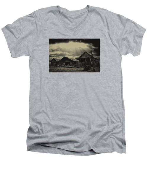 Men's V-Neck T-Shirt featuring the photograph Forgotten Years by B Wayne Mullins