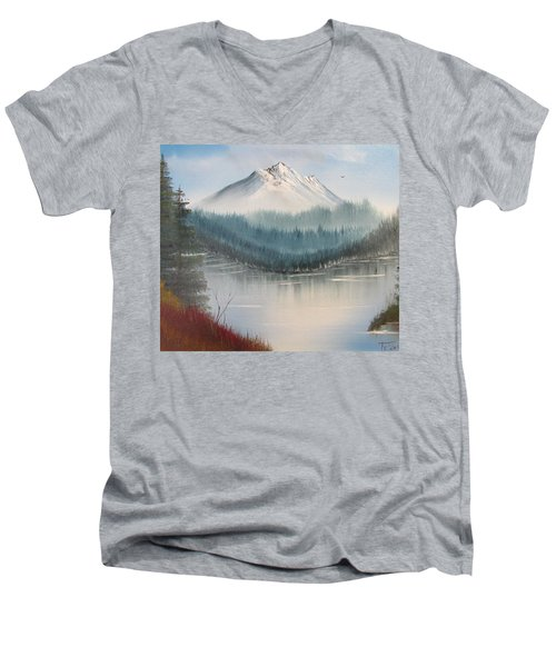 Fork In The River Men's V-Neck T-Shirt by Thomas Janos