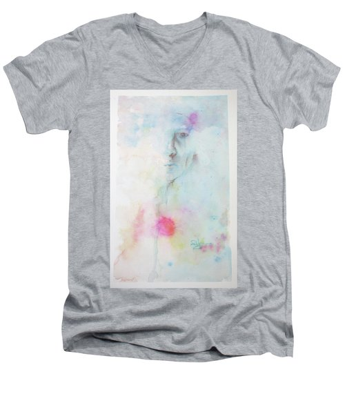 Men's V-Neck T-Shirt featuring the painting Forlorn Me by Rachel Hames