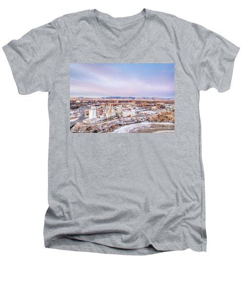 Fort Collins Aeiral Cityscape Men's V-Neck T-Shirt