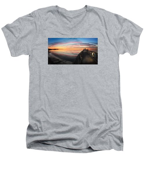 Men's V-Neck T-Shirt featuring the photograph Fort Fisher Sunset Reverie With Heron by Phil Mancuso