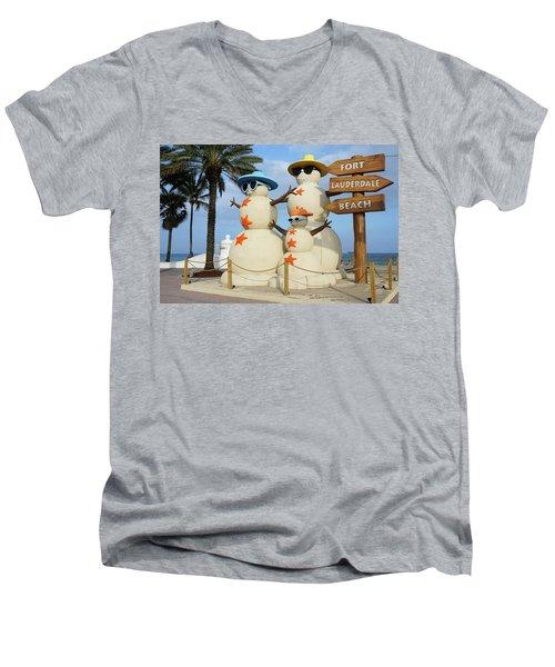 Fort Lauderdale Snowman Men's V-Neck T-Shirt