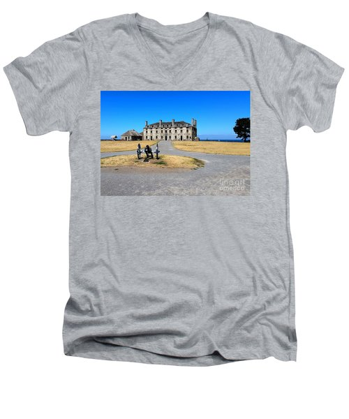 Fort Niagara  Men's V-Neck T-Shirt by Raymond Earley