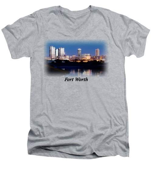 Fort Worth Night Skyline T-shirt Men's V-Neck T-Shirt