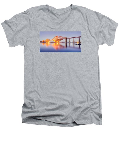 Men's V-Neck T-Shirt featuring the photograph Forth Bridge Sunset by Ray Devlin