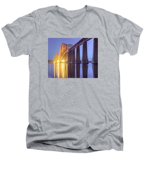Men's V-Neck T-Shirt featuring the photograph Forth Bridge Twilight by Ray Devlin