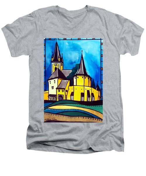 Men's V-Neck T-Shirt featuring the painting Fortified Medieval Church In Transylvania By Dora Hathazi Mendes by Dora Hathazi Mendes