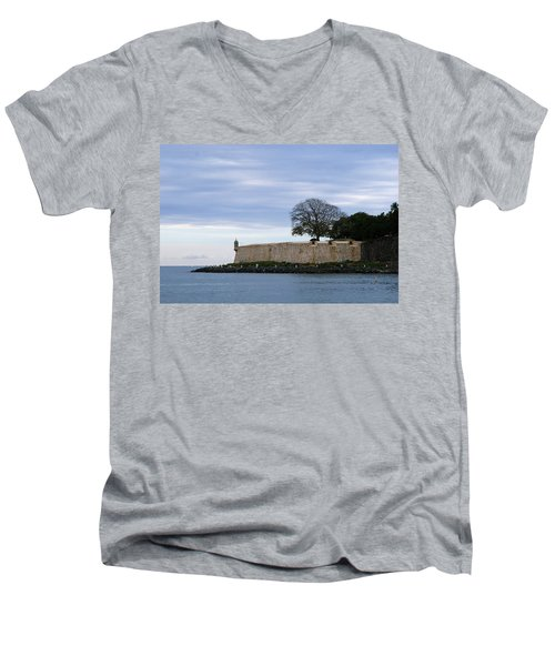 Fortress Wall Men's V-Neck T-Shirt by Lois Lepisto