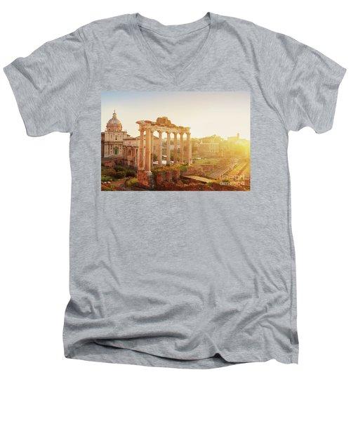 Forum - Roman Ruins In Rome At Sunrise Men's V-Neck T-Shirt