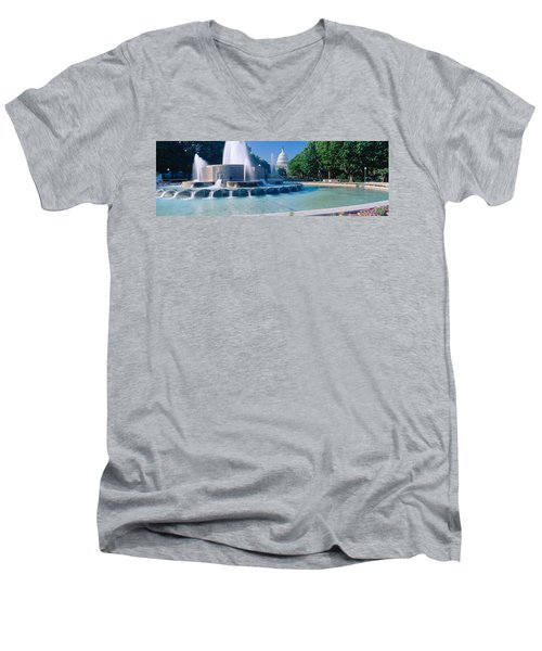 Fountain And Us Capitol Building Men's V-Neck T-Shirt by Panoramic Images