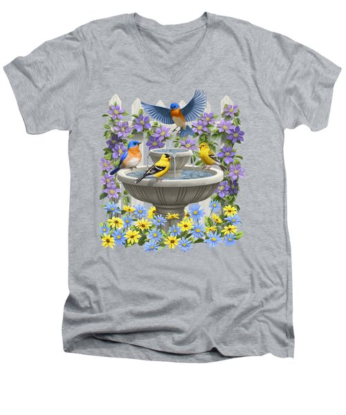 Fountain Festivities - Birds And Birdbath Painting Men's V-Neck T-Shirt by Crista Forest
