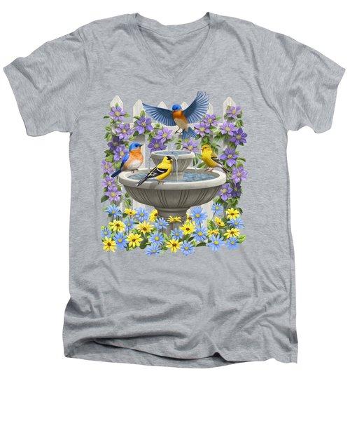 Fountain Festivities - Birds And Birdbath Painting Men's V-Neck T-Shirt