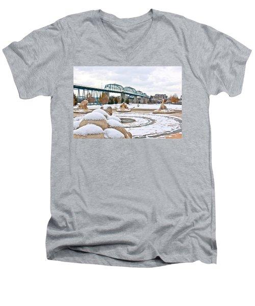 Fountain In Winter Men's V-Neck T-Shirt