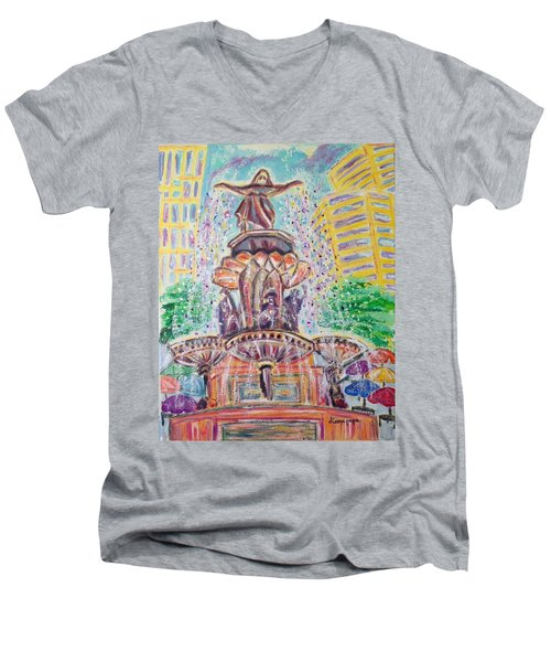 Men's V-Neck T-Shirt featuring the painting Fountain Square  Cincinnati  Ohio by Diane Pape