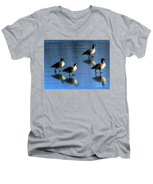 Men's V-Neck T-Shirt featuring the photograph Four Geese Walking On Ice by Rockin Docks Deluxephotos