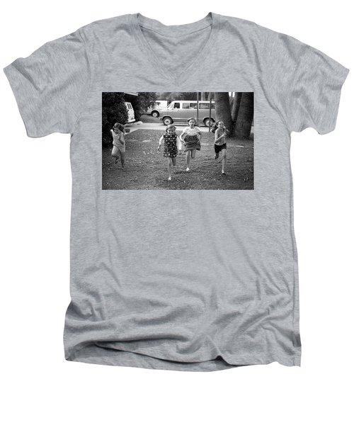 Four Girls Racing, 1972 Men's V-Neck T-Shirt