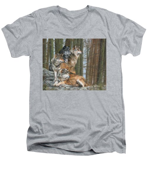 Men's V-Neck T-Shirt featuring the painting Four Wolves by David Stribbling