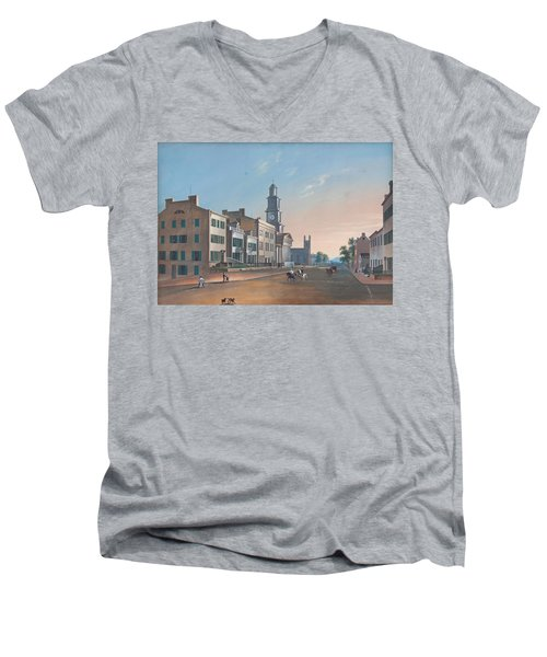 Men's V-Neck T-Shirt featuring the painting Fourth Street. West From Vine by John Caspar Wild