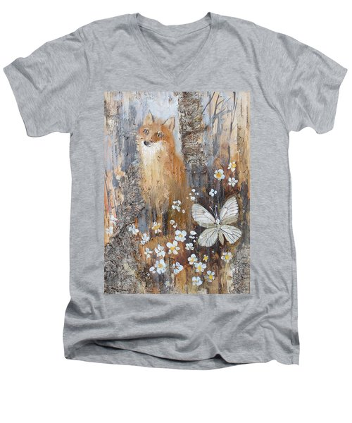 Fox And Butterfly Men's V-Neck T-Shirt