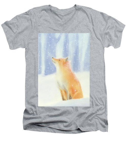 Men's V-Neck T-Shirt featuring the painting Fox In The Snow by Taylan Apukovska